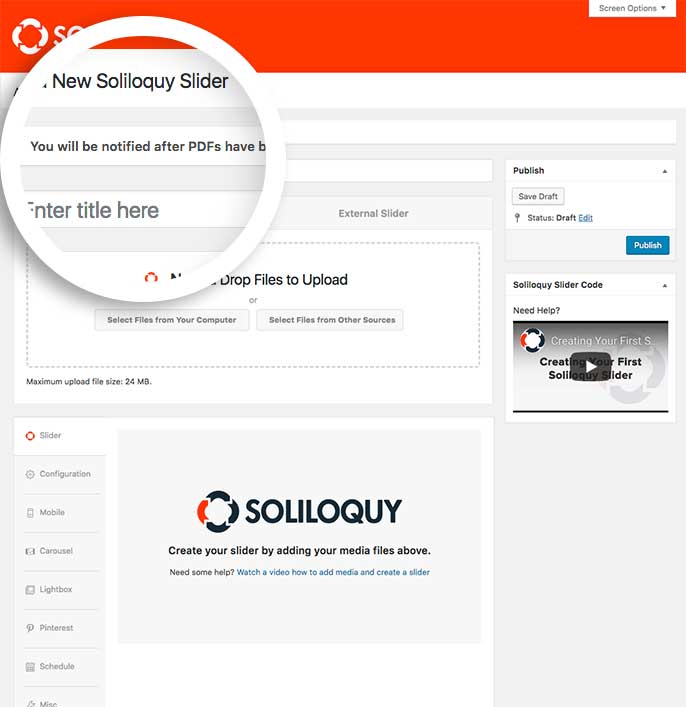 How to use set up and use the PDF Addon for Soliloquy Slider