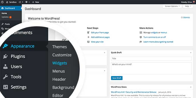 To configure your Envira Gallery widget you'll need to navigate to the Widgets screen in the WordPress admin.