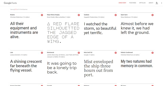 A grid layout of some of the many fonts available on Google Fonts