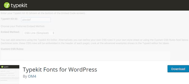 Typekit's banner, with a grayed-out image of the embedding process in the WordPress backend