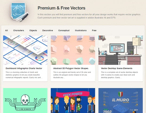 Several vector sets from Pixeden, from desktop elements to infographic charts