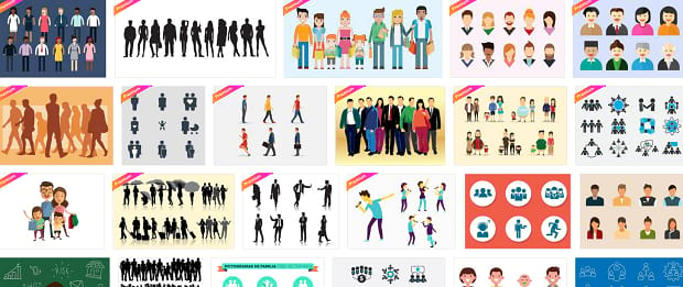 A grid of various illustrations of people from Vecteezy