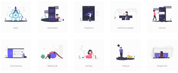 a list of some simple vector illustrations from unDraw