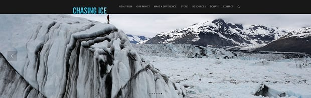 Chasing Ice's slider, showing someone standing on the top of a large snowy hill
