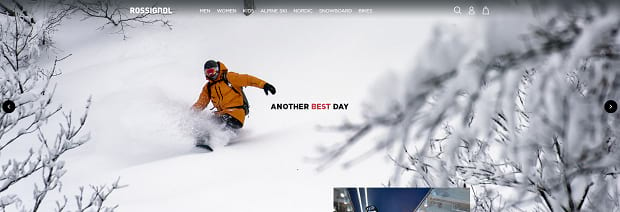Rossignol's slider, showing a man snowboarding down a mountain