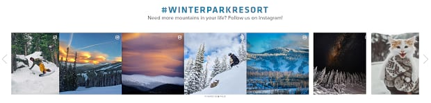 Winter Park Resort's slider, featuring a line-up of several snowy images