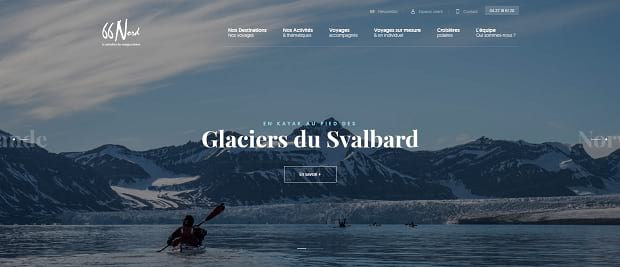 66 Nord's slider, featuring someone rowing down a river with snowy mountains in the background