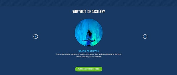 Ice Castles' slider, with a small center image of an icy cave