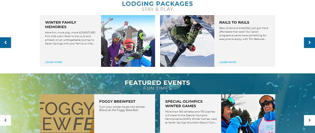 Seven Springs' lider set, with two sliders stacked on top of each other full of various articles and images of the snowy mountains