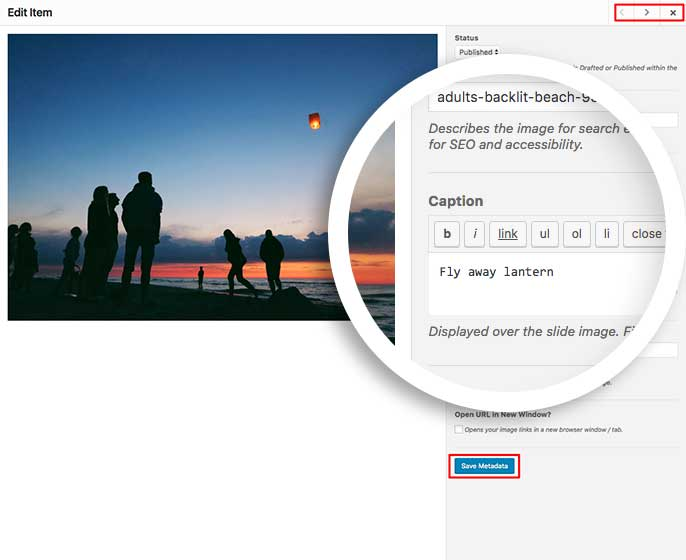 Add your caption to each of your slider images