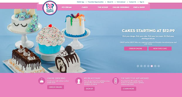Baskin Robbins' colorful product slider, feature tons of different cute desserts