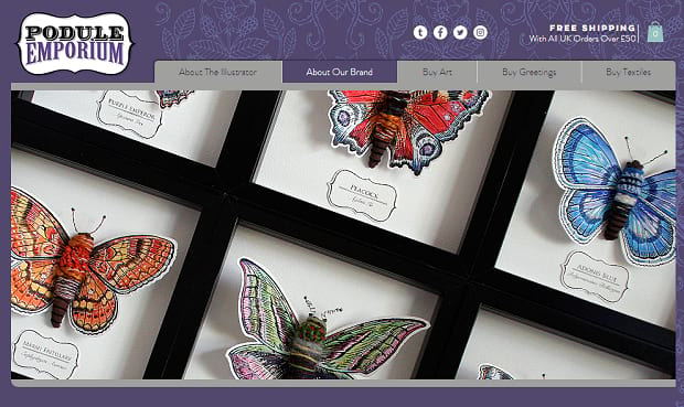 Podule Emporium's showcase slider, featuring a set of framed illustrations of butterflies