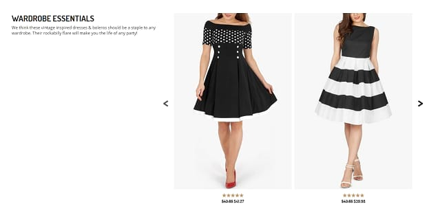 A slider of wardrobe essentials from BlackButterfly, featuring a couple of black and white dresses