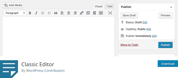 The Classic Editor WordPress plugin, with a header image of the old editor