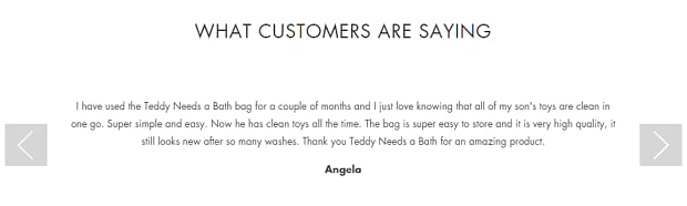 A minimal testimonial slider, with simple navigation arrows on either side of the text