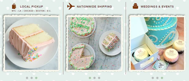 A row on individual tiny sliders showing off various bright colored baked goods