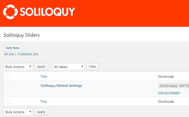 The list of created Soliloquy sliders, with the default settings slider at the top