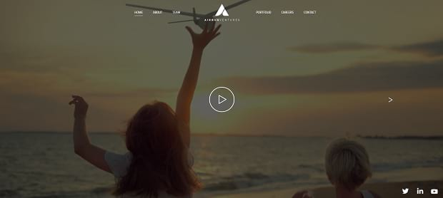 Airbus Ventures' video slider, showing two kinds on a beach waving at a plane as it takes off