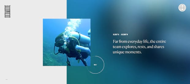 A video slider showing clips from the Explore with Locomotive team, currently showing someone scuba diving