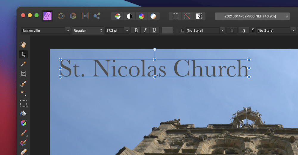 Adding text to images in Affinity Photo.