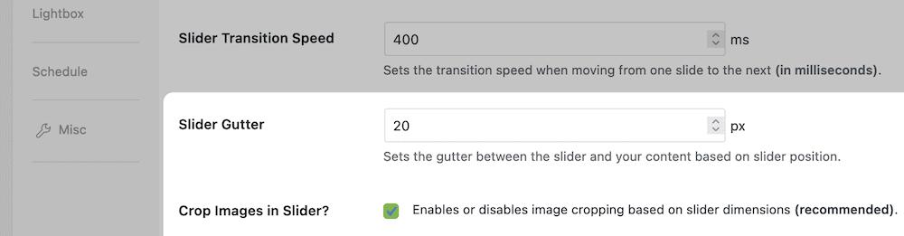 The Slider gutter settings.